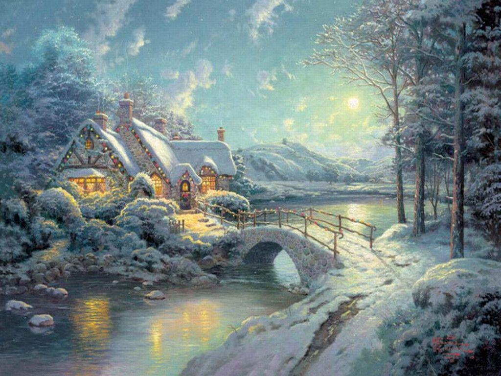 Xmas Stuff For > Thomas Kinkade Christmas Village Wallpapers