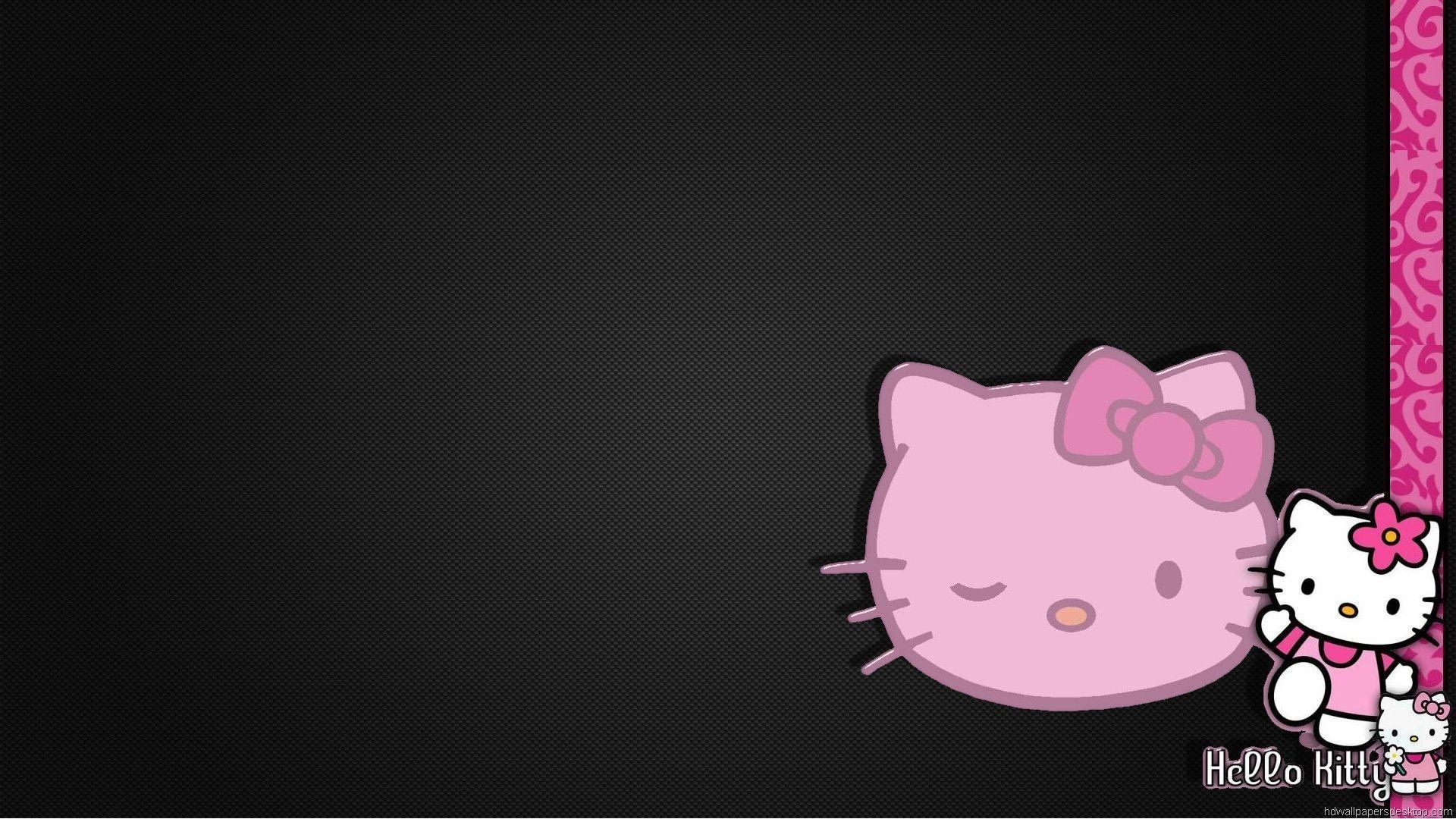 Pink and black hello kitty happy birthday wallpaper free