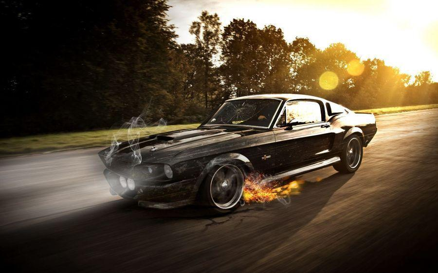 Free Wallpapers: Black Ruined Ford Mustang Shelby Gt350