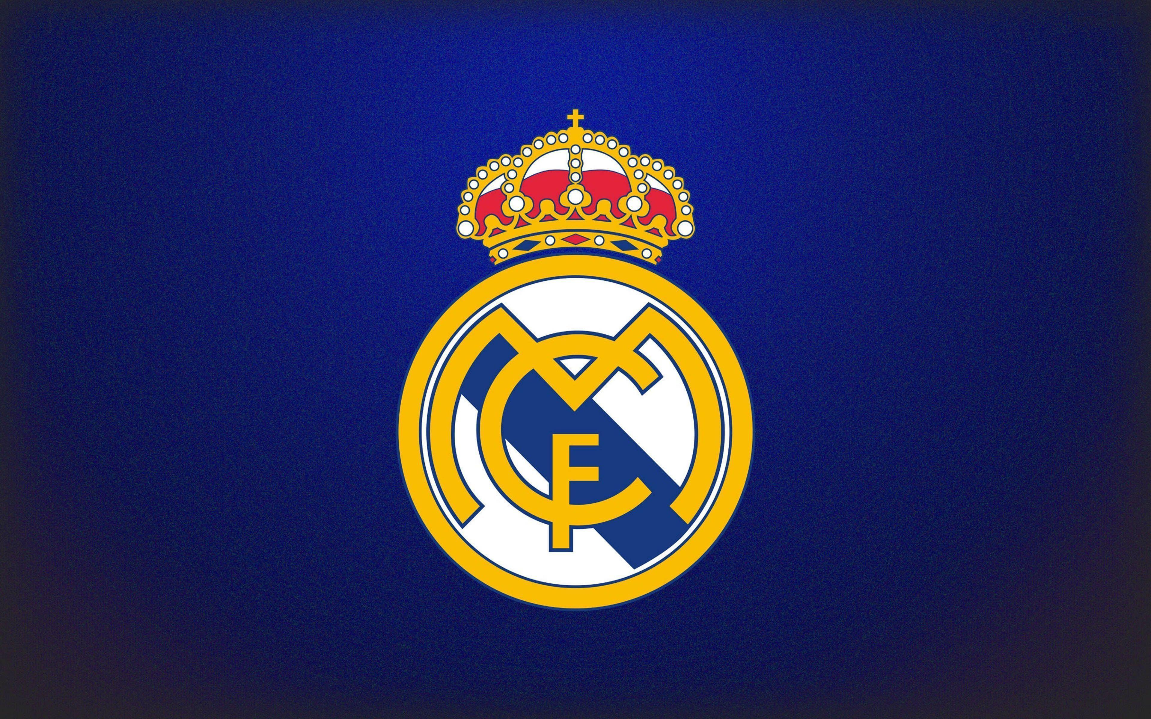 Real Madrid Logo Blue Background Wallpaper | WallpapersByte