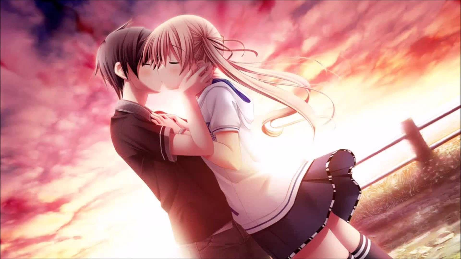 Love Kiss Of Cute Anime Couple HD Wallpaper - Wallpapers109 A Huge ...