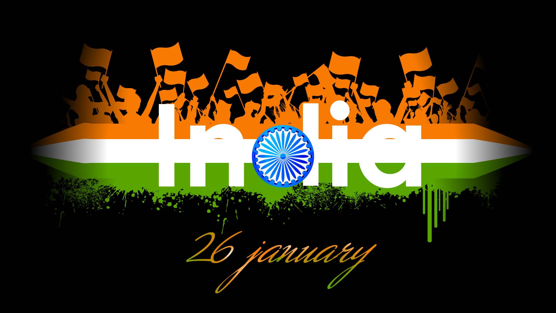 Happy Republic Day in India with Indian Flag Symbol