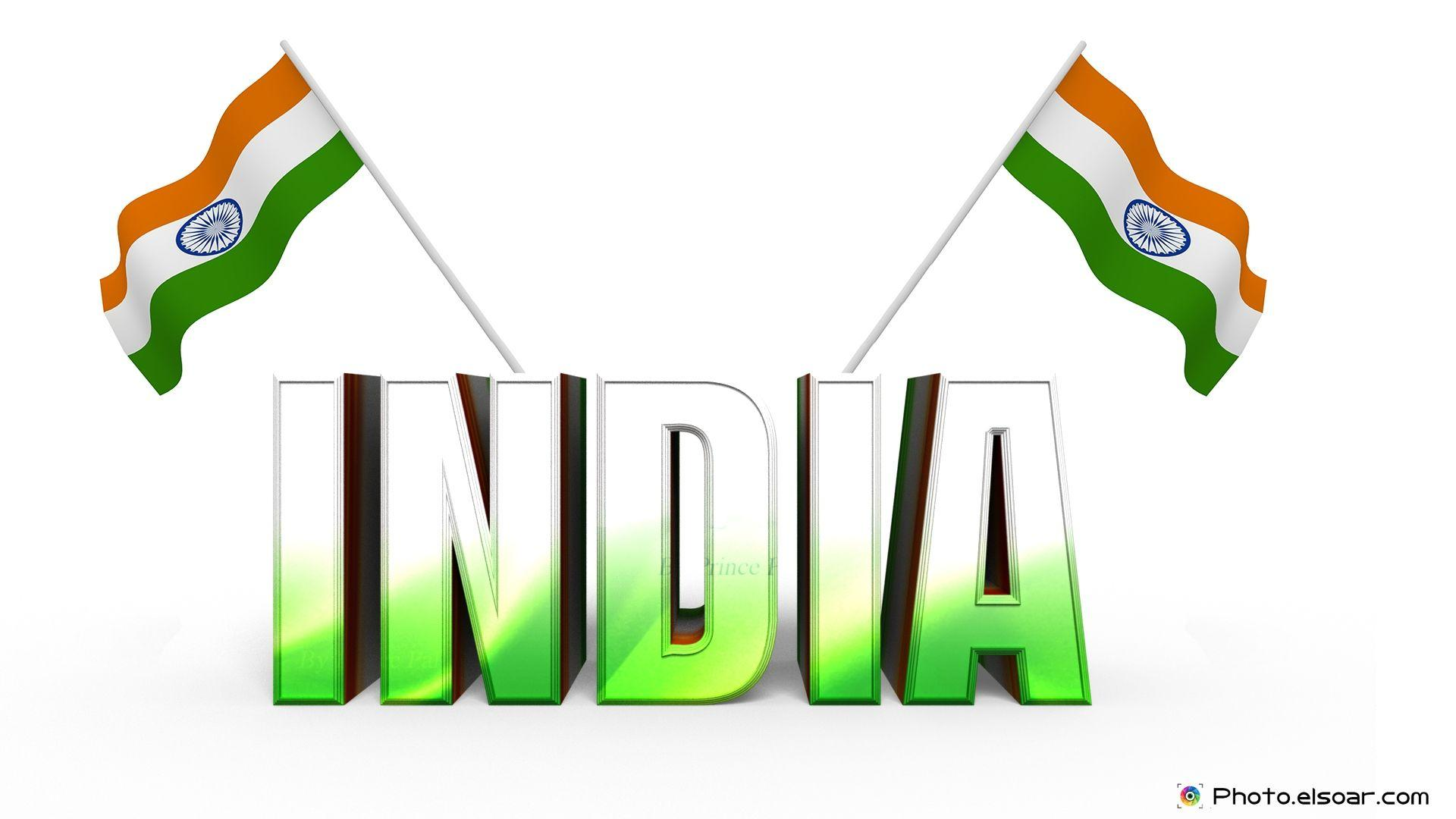 India 3D Text With The Stylish Indian Flag Wallpapers • Elsoar