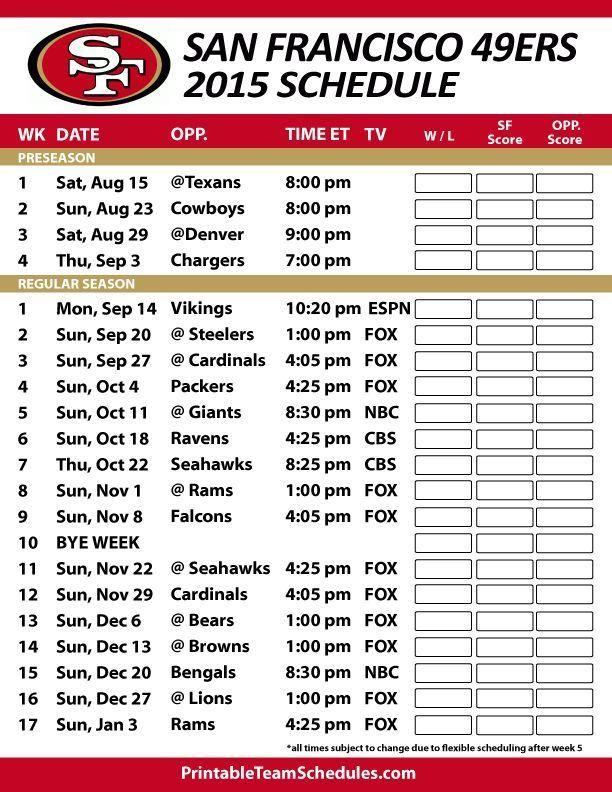 49ers Schedule For This Year