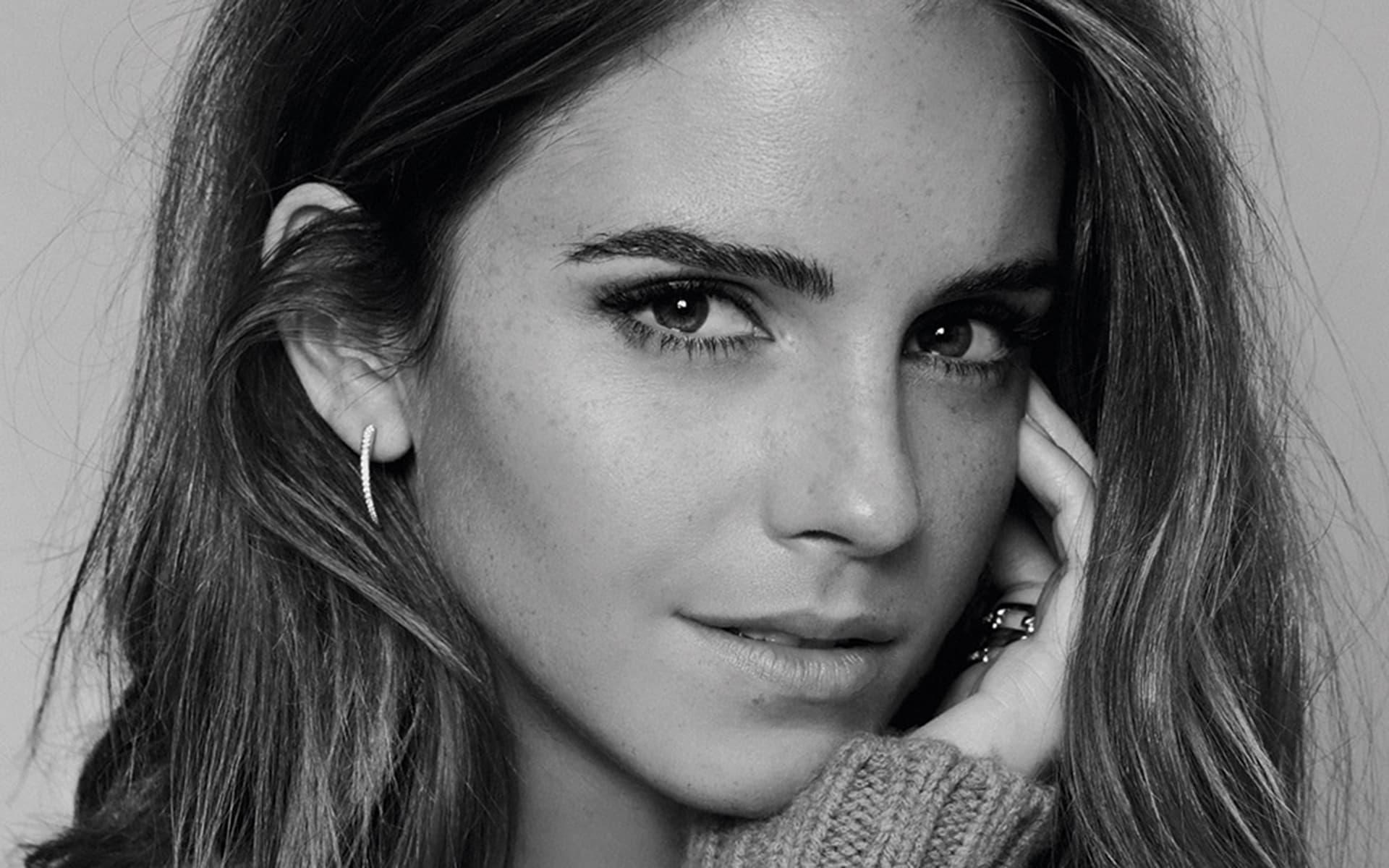 women emma watson actress freckles monochrome start x