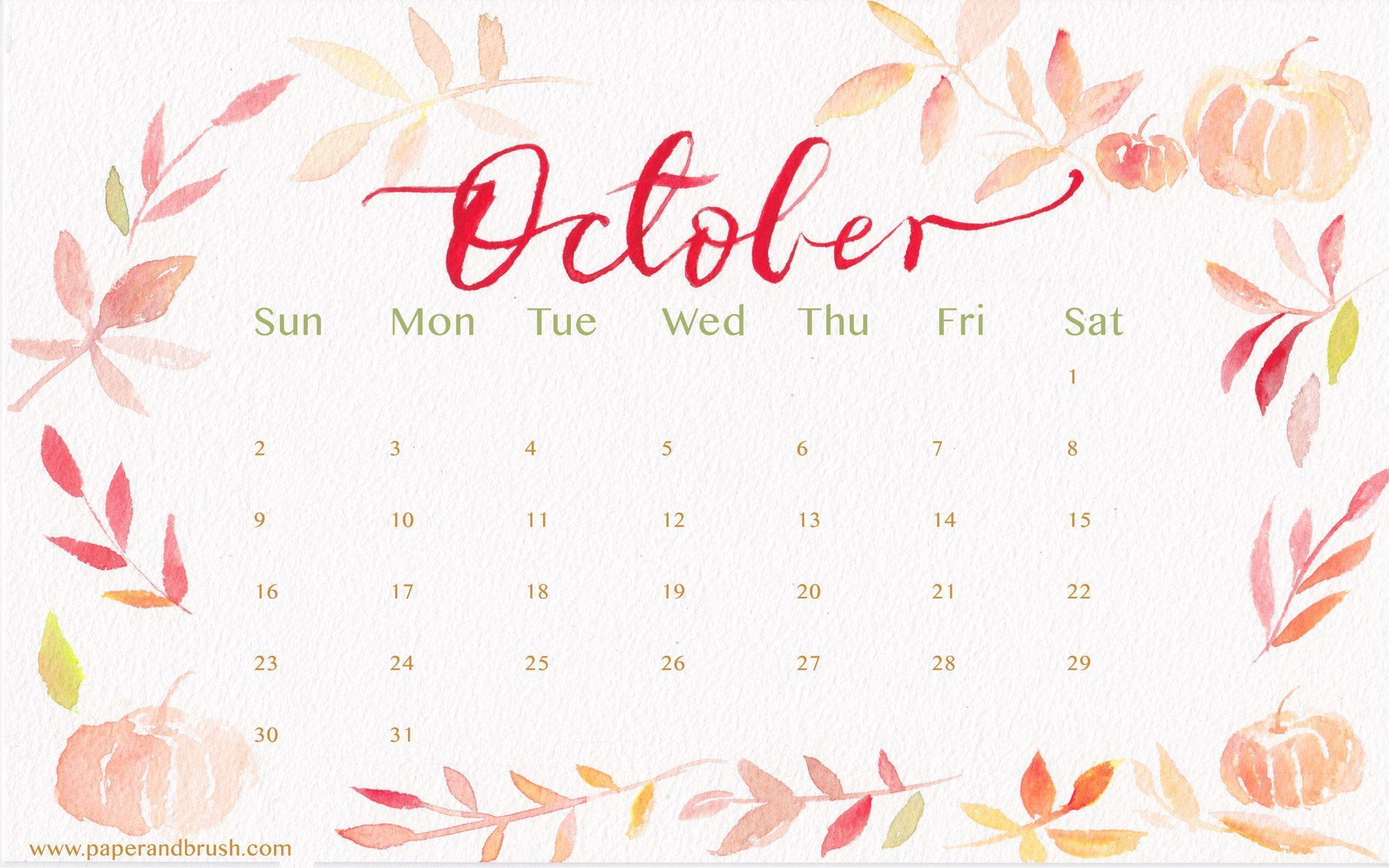 Calendar Wallpaper October : Desktop wallpapers calendar october wallpaper cave