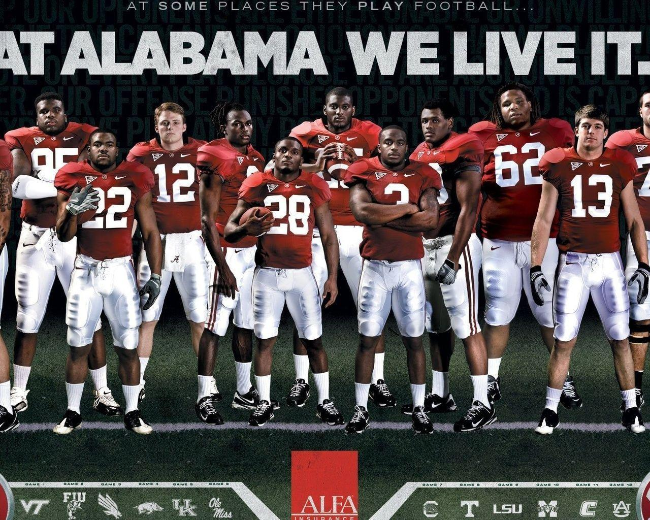 1280x1024 Football, College, Crimson Tide, Alabama Football Team