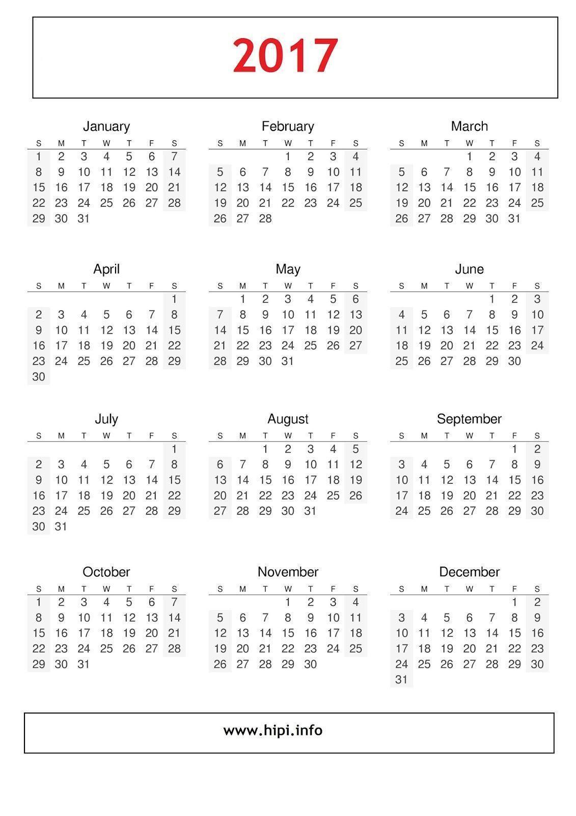 Calendars: 2017