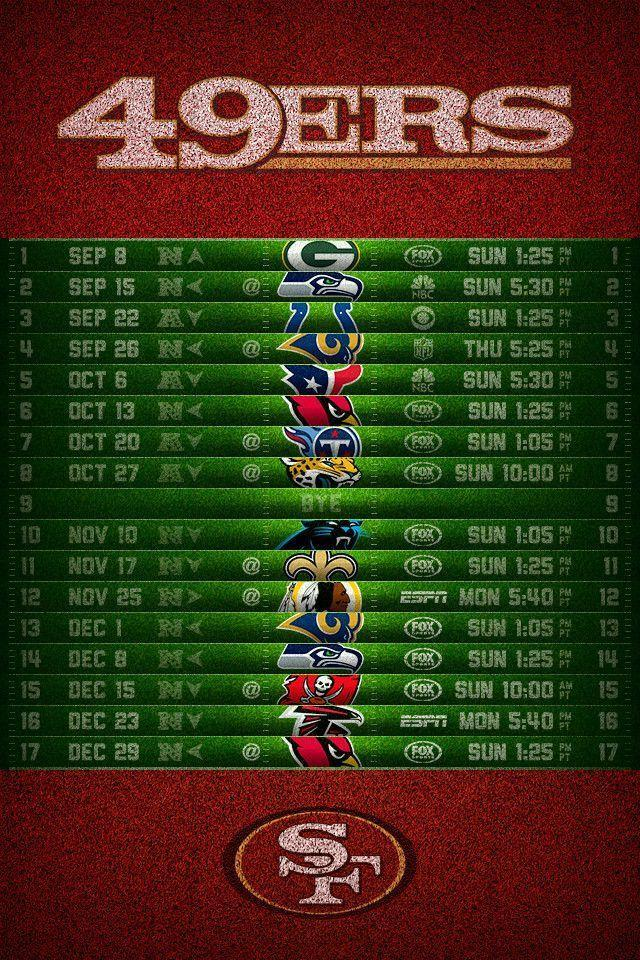 San Francisco 49ers 2013 Schedule iPhone 4 Wallpaper (640x960)