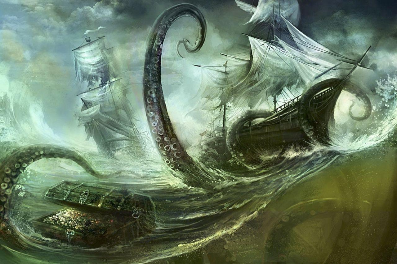 Giant Squid Ships Desktop Wallpaper