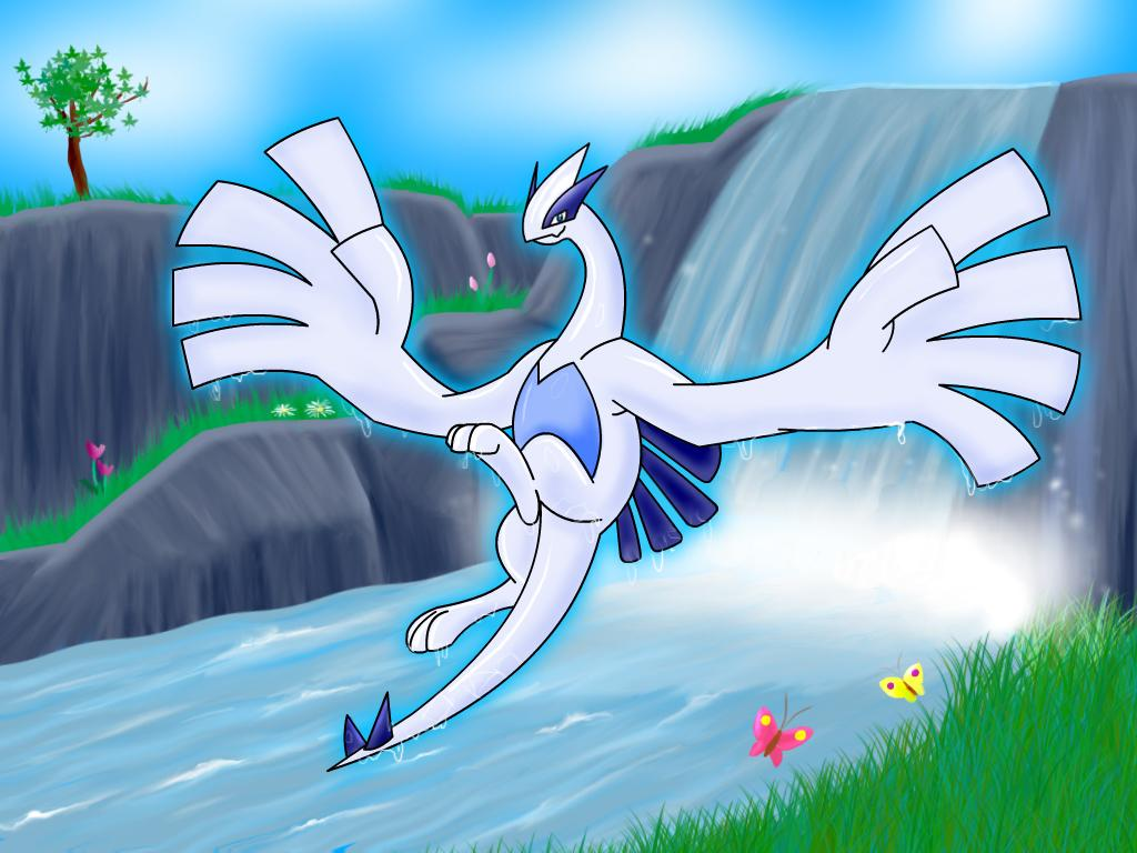 Lugia images Lugia by a waterfall. HD wallpaper and background ...