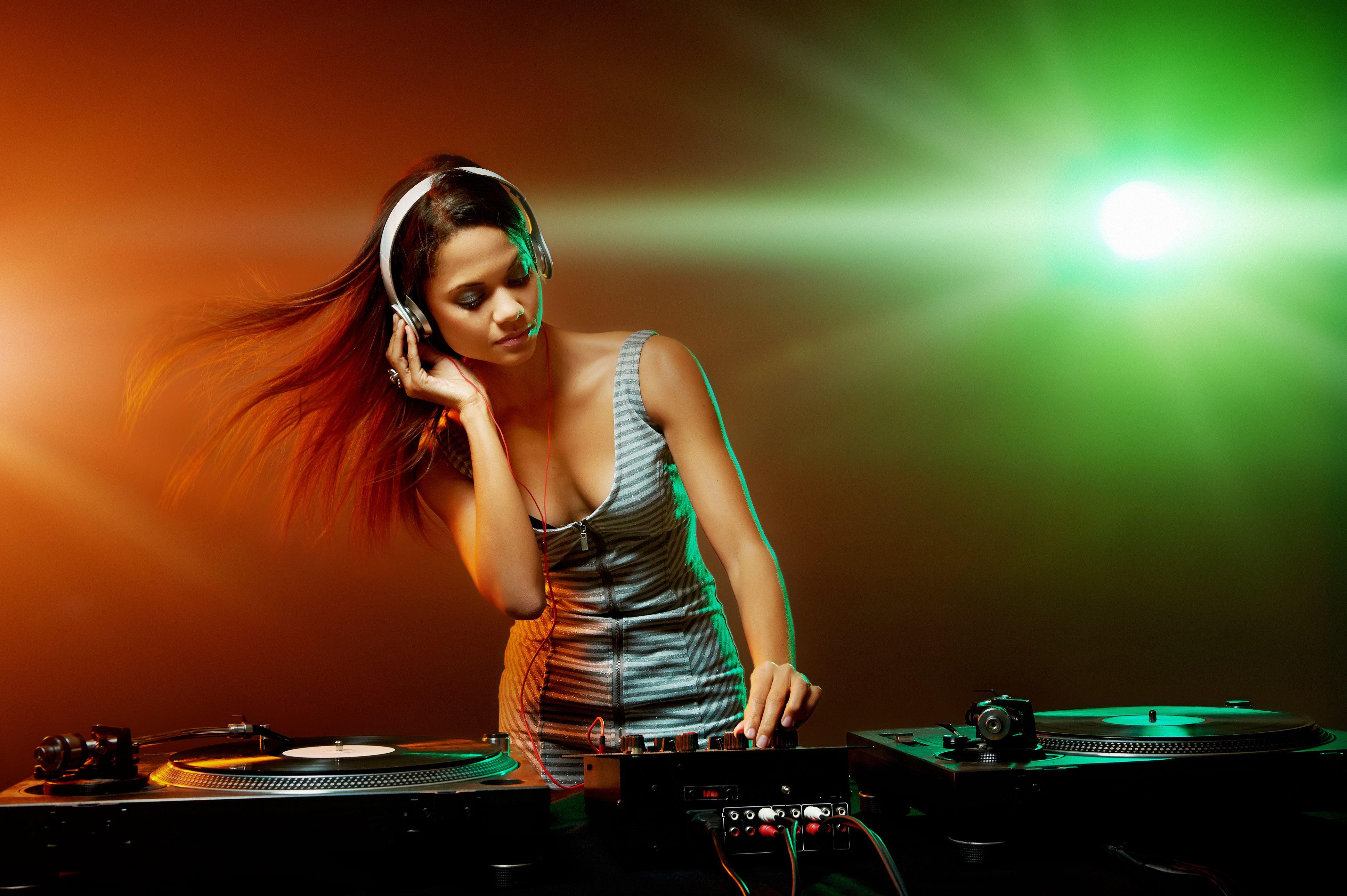 Hot Beautiful Girl Like Dj Black Stock Photo