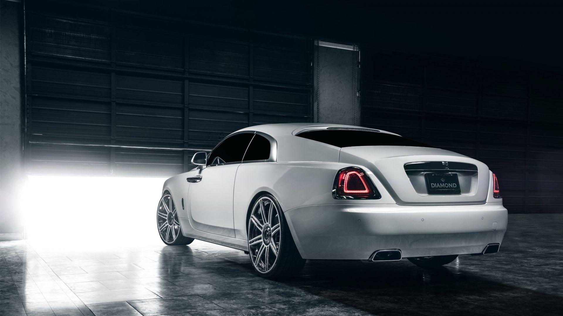 Download Wallpapers 1920x1080 Rolls royce, Wraith, White, Rear view