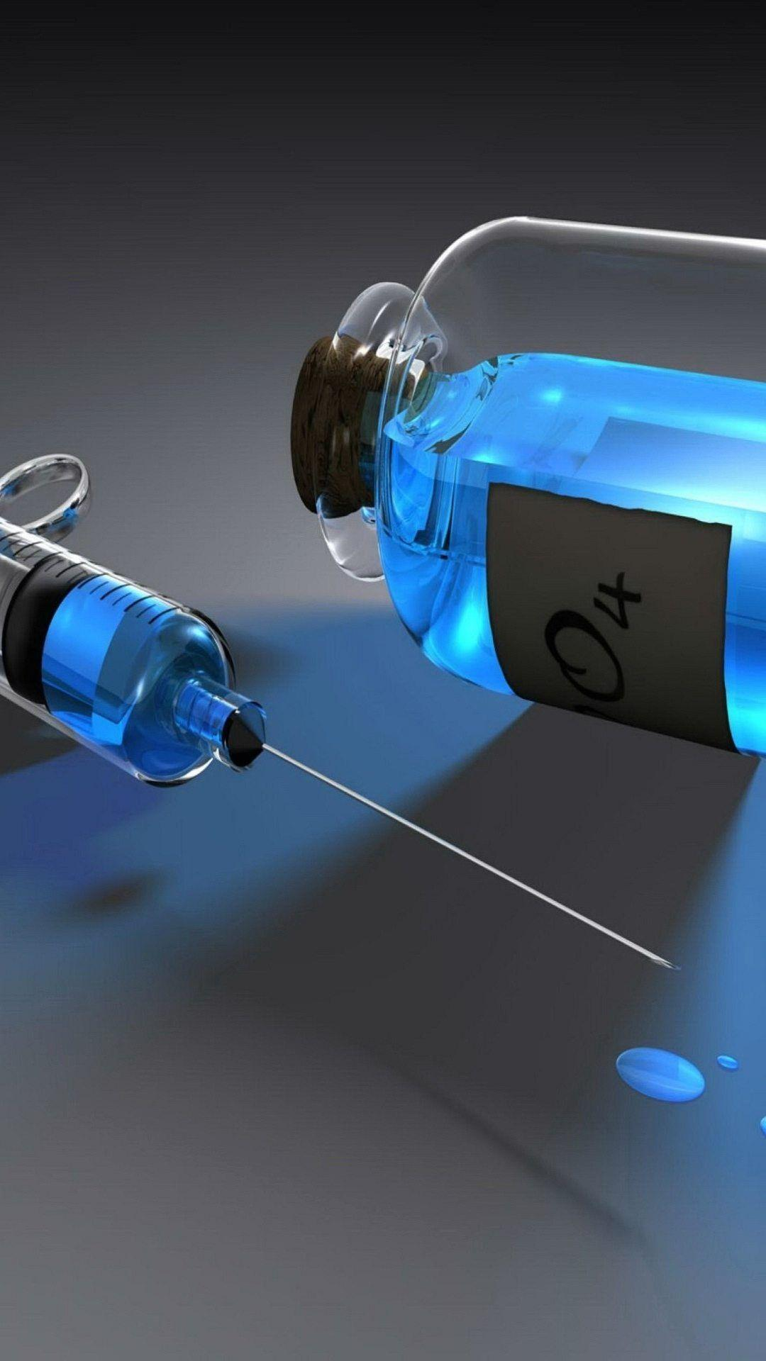 Wallpaper Full Hd 1080 X 1920 Smartphone Syringe And Medicine Blue ...