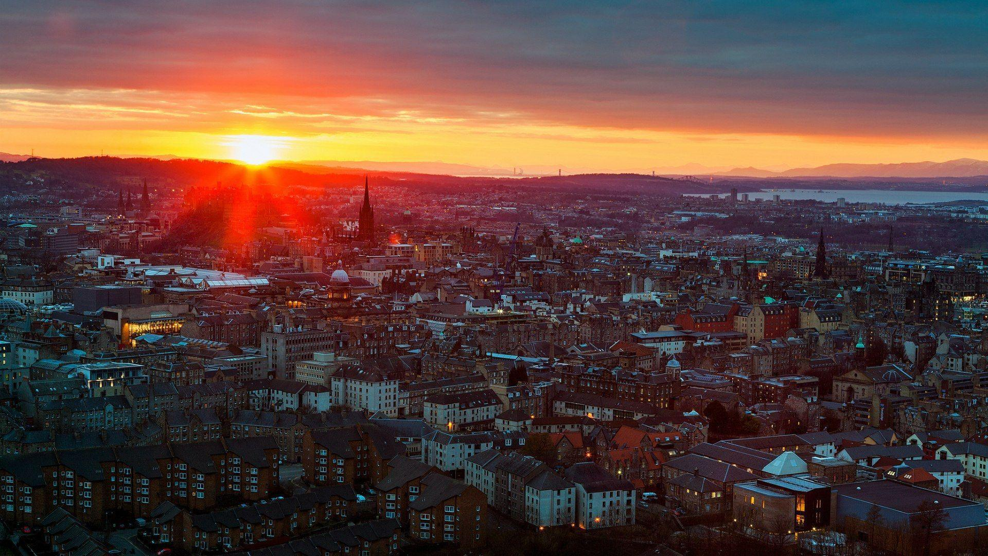 Sunset in Edinburgh, Scotland wallpapers and images - wallpapers ...