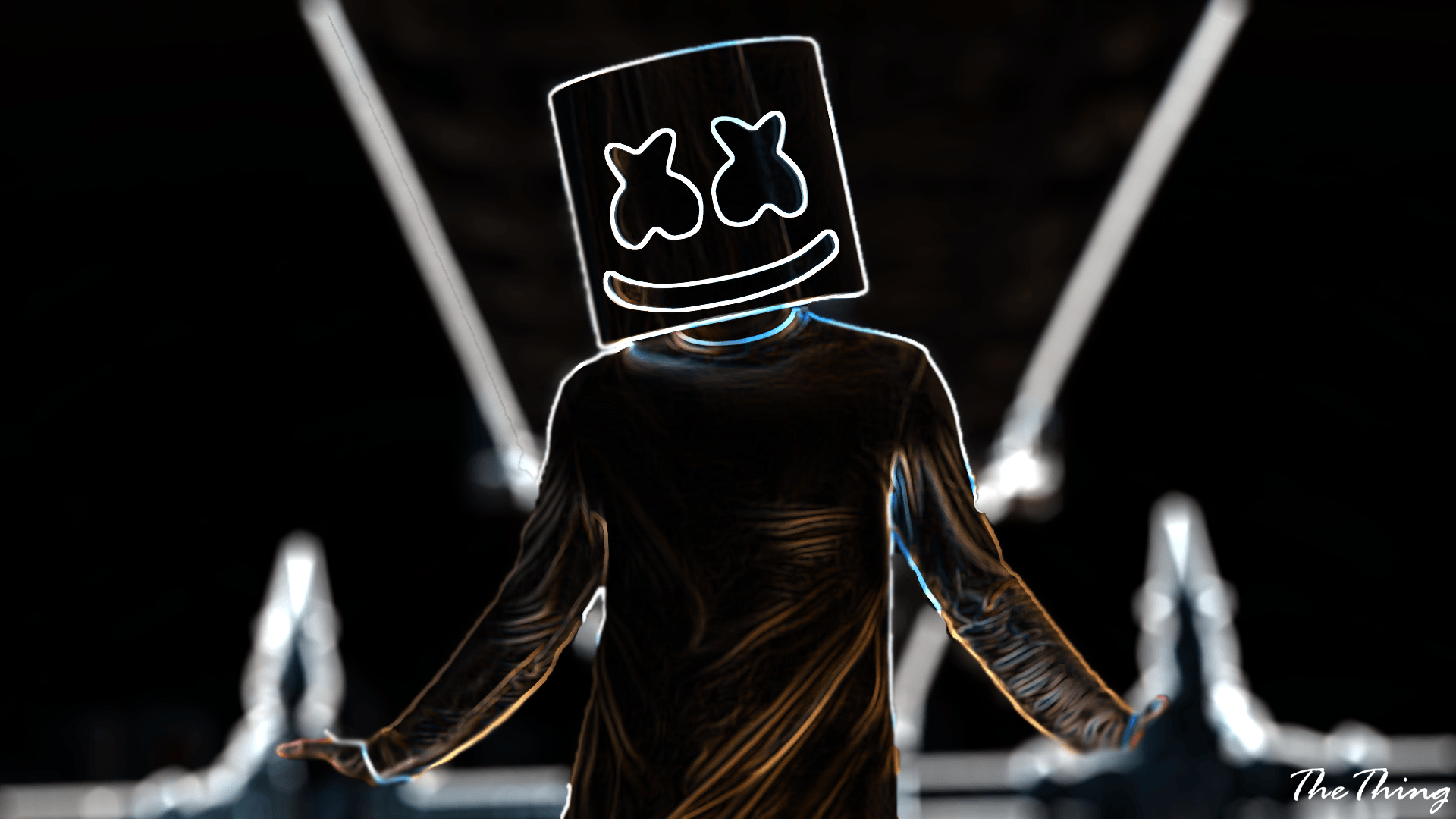 Marshmello Neon Musical Instrument Wallpaper No