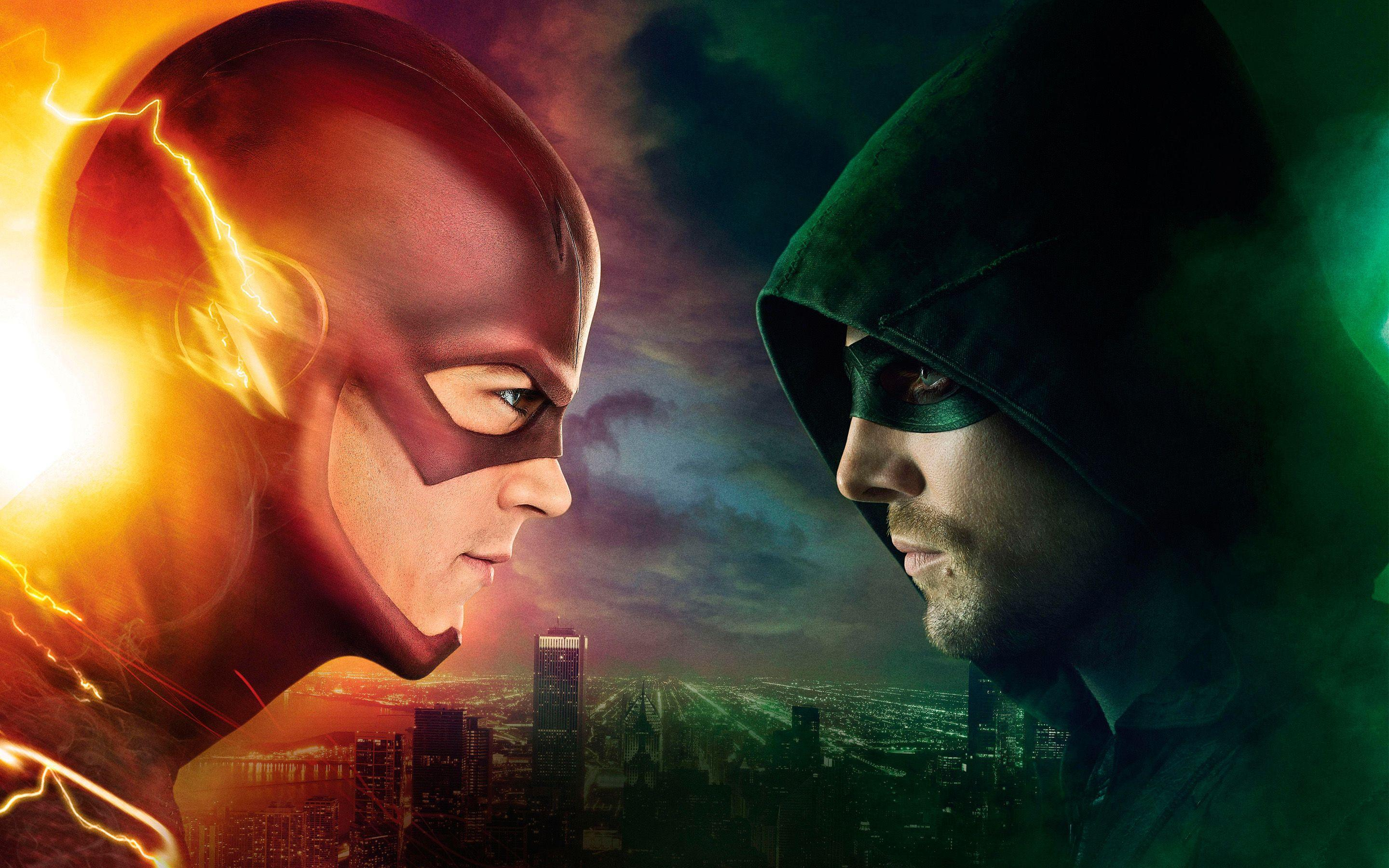 Flash vs Arrow TV Series Cover Wallpapers free desktop backgrounds