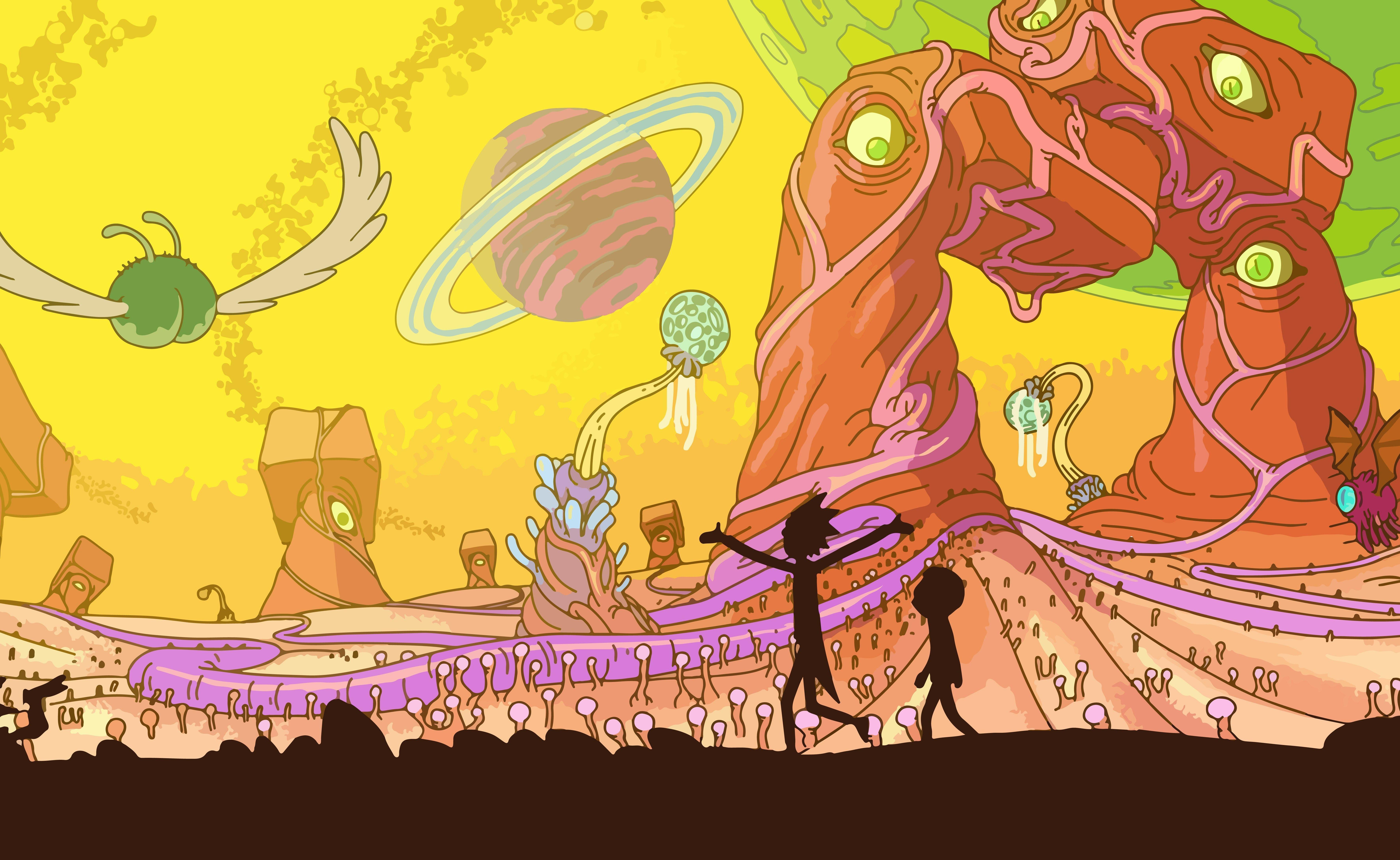Rick And Morty, Adult Swim, Space, Animation, Planet Wallpapers HD