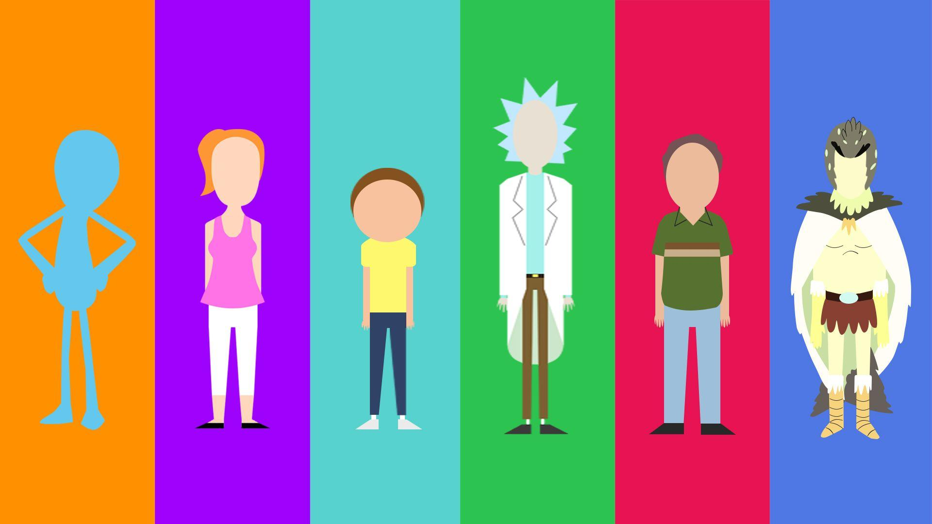 My minimalist Rick and Morty character collection