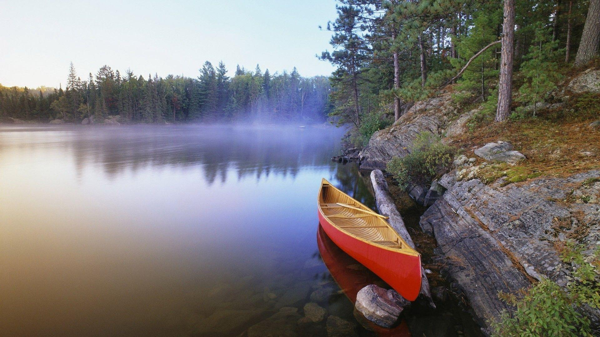 Canoe On The Morning Lake Wallpapers