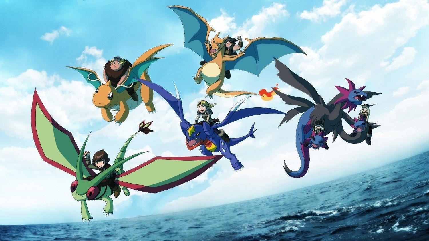 Pokemon how to train your dragon flygon charizard dragonite hiccup
