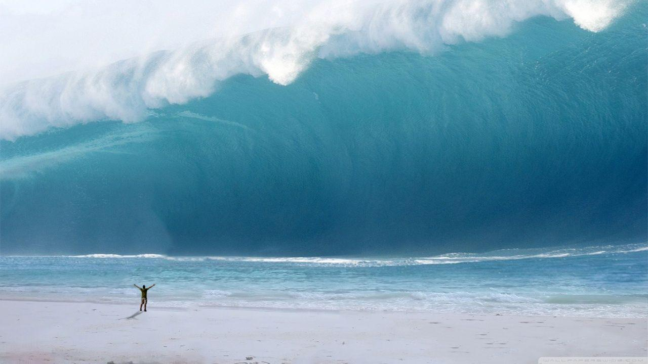 Man vs. Tsunami HD desktop wallpaper : Widescreen : High ...