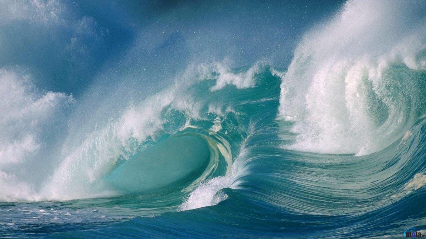 Download Wallpaper Ocean waves, tsunami (1366 x 768). Desktop ...
