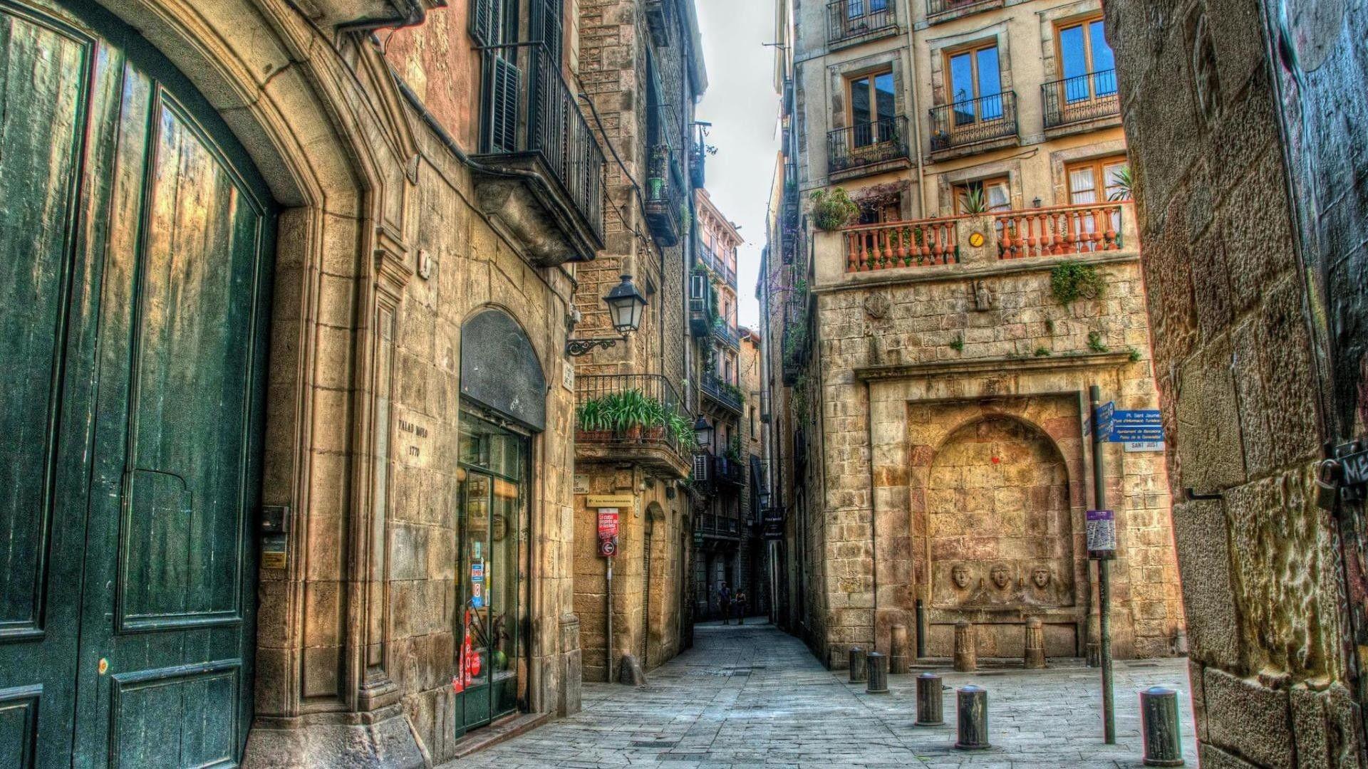 Other: Side Street Barcelona City Stones Doors Balconies Free ...