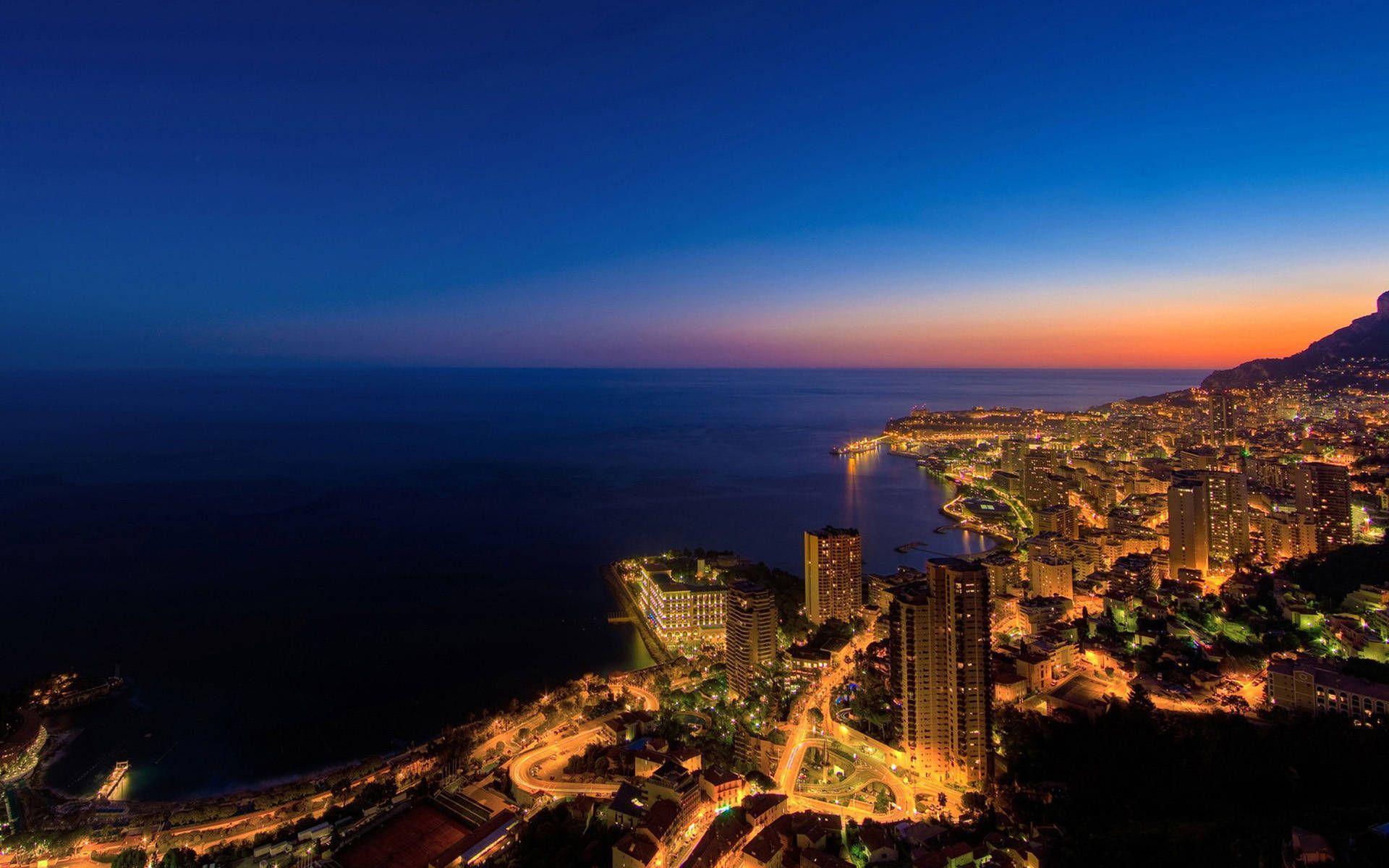 Beautiful Monaco City At Night Wallpaper Deskt #10727 Wallpaper ...