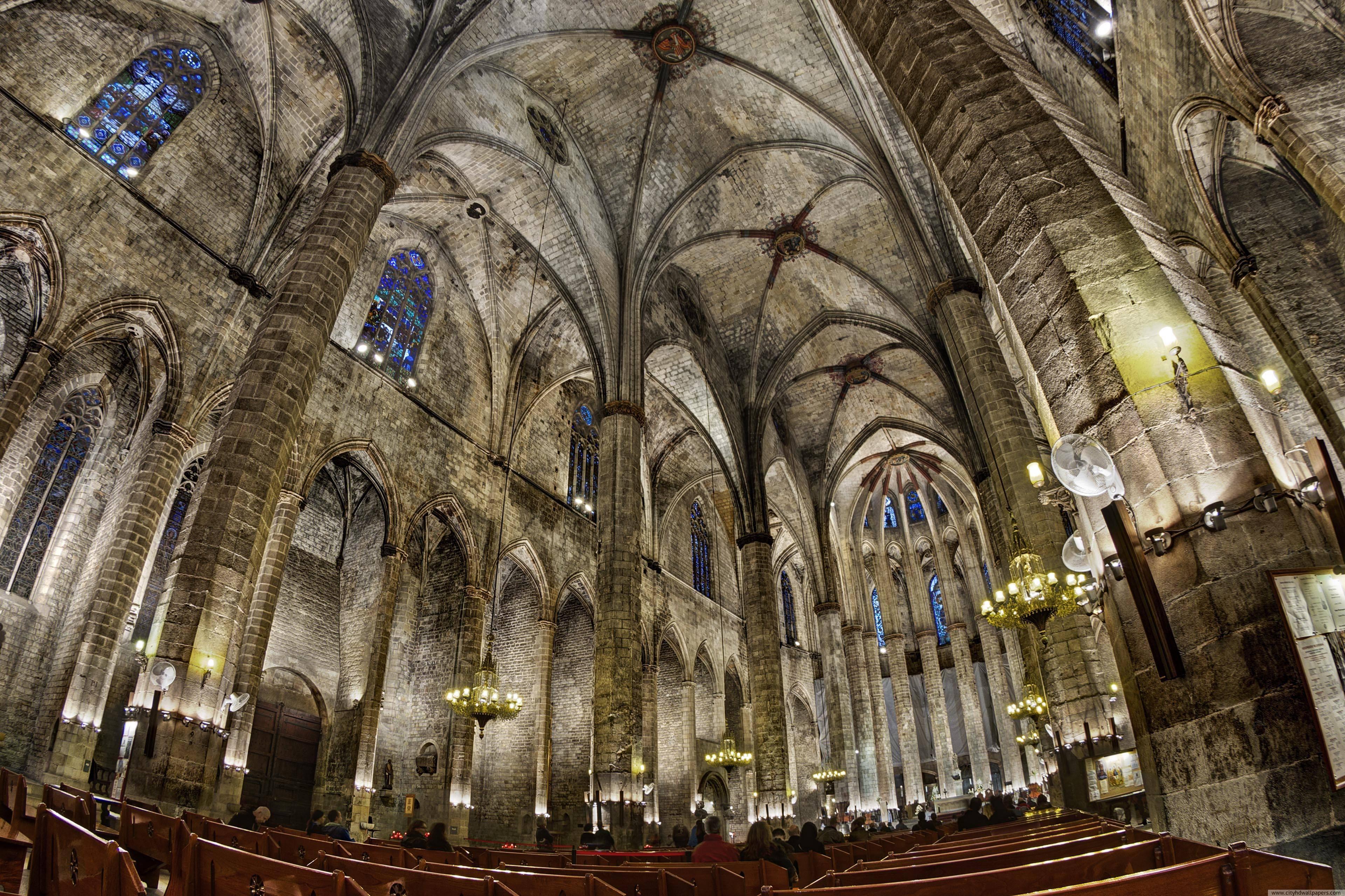 Church of Santa Maria building internal in Barcelona city | city ...