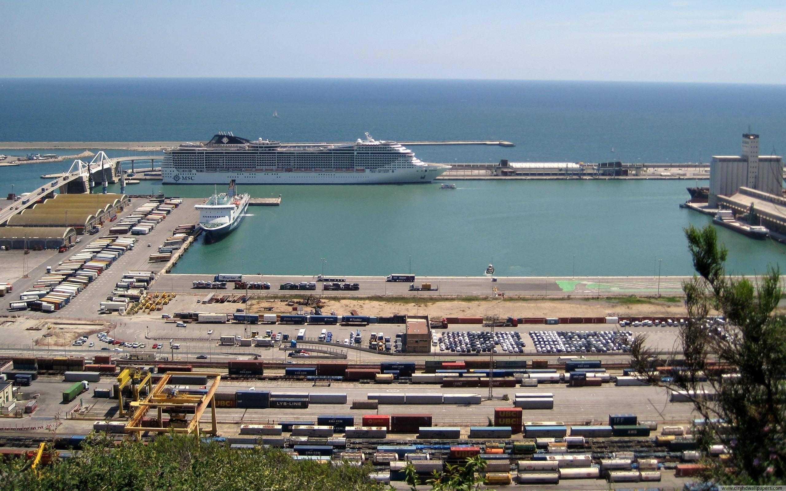 The container terminal in port of Barcelona city | city wallpaper
