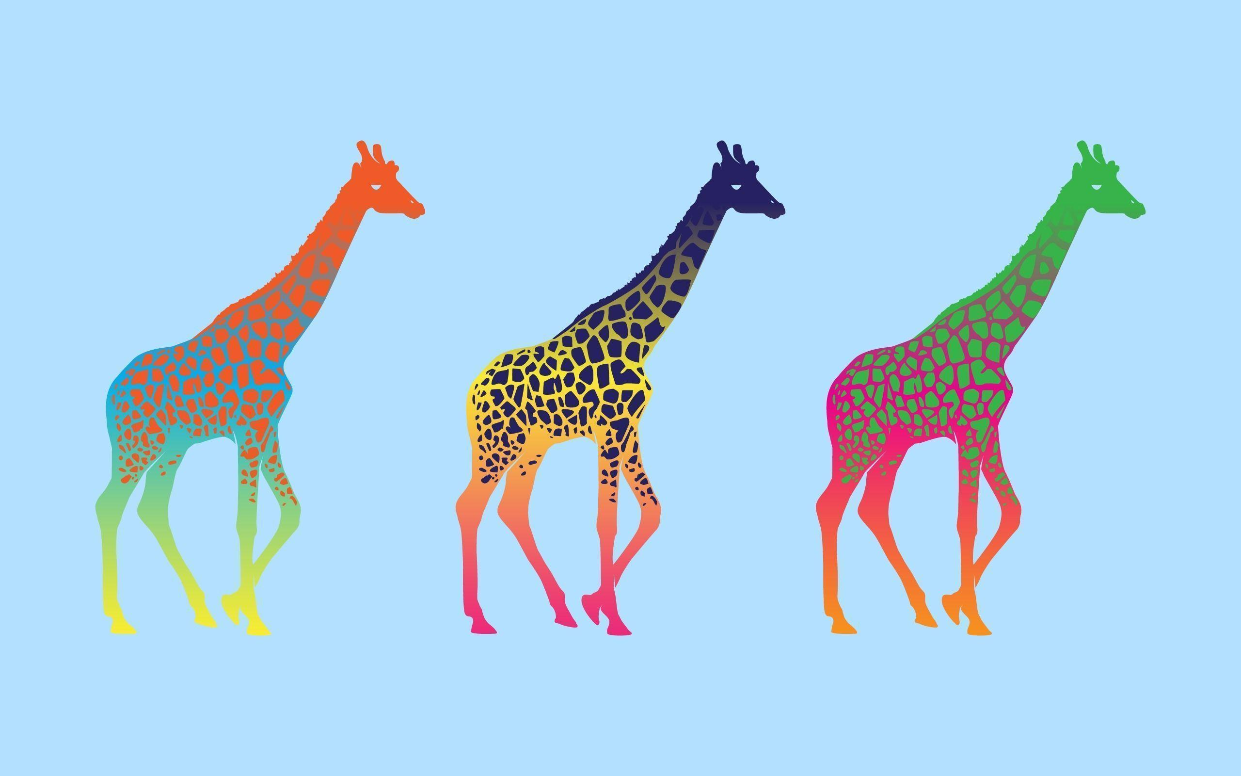 Download Giraffe Colorful Pop Art Minimalism Wallpapers 2560x1600