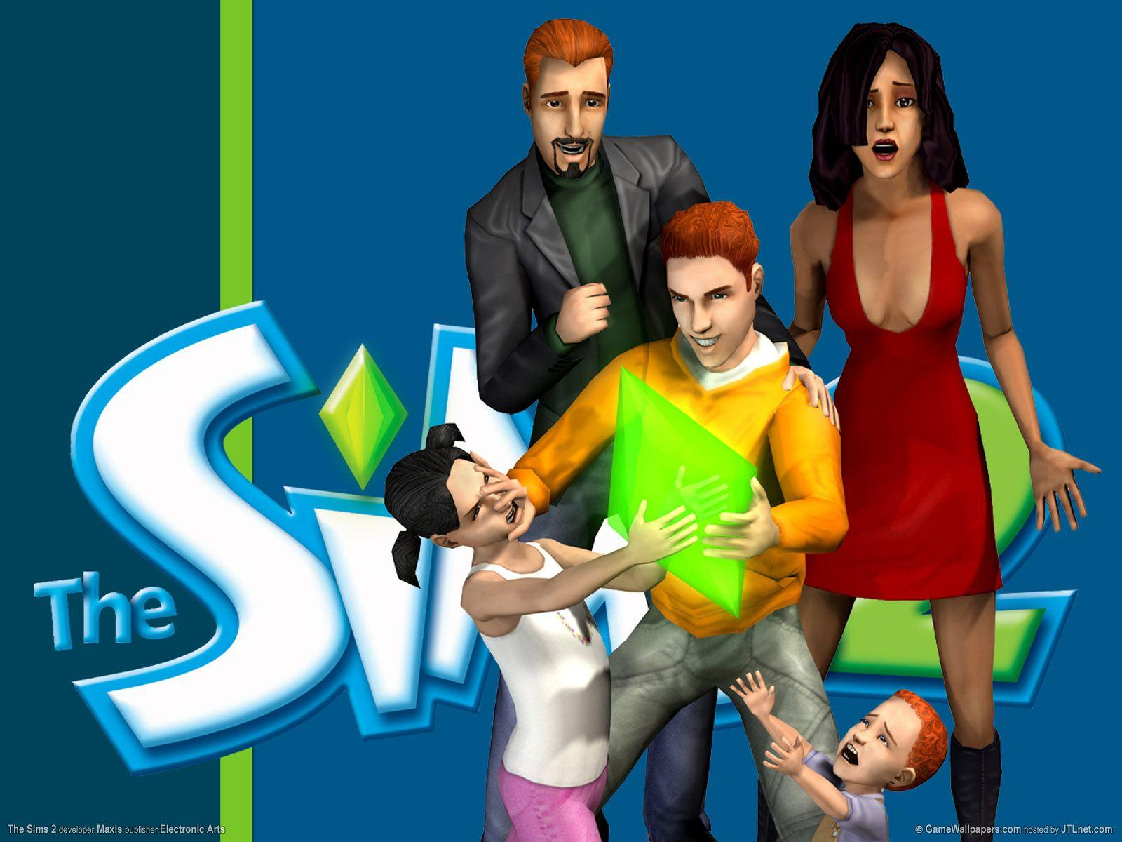 Wallpaper blue, The Sims 2, The Sims 2.