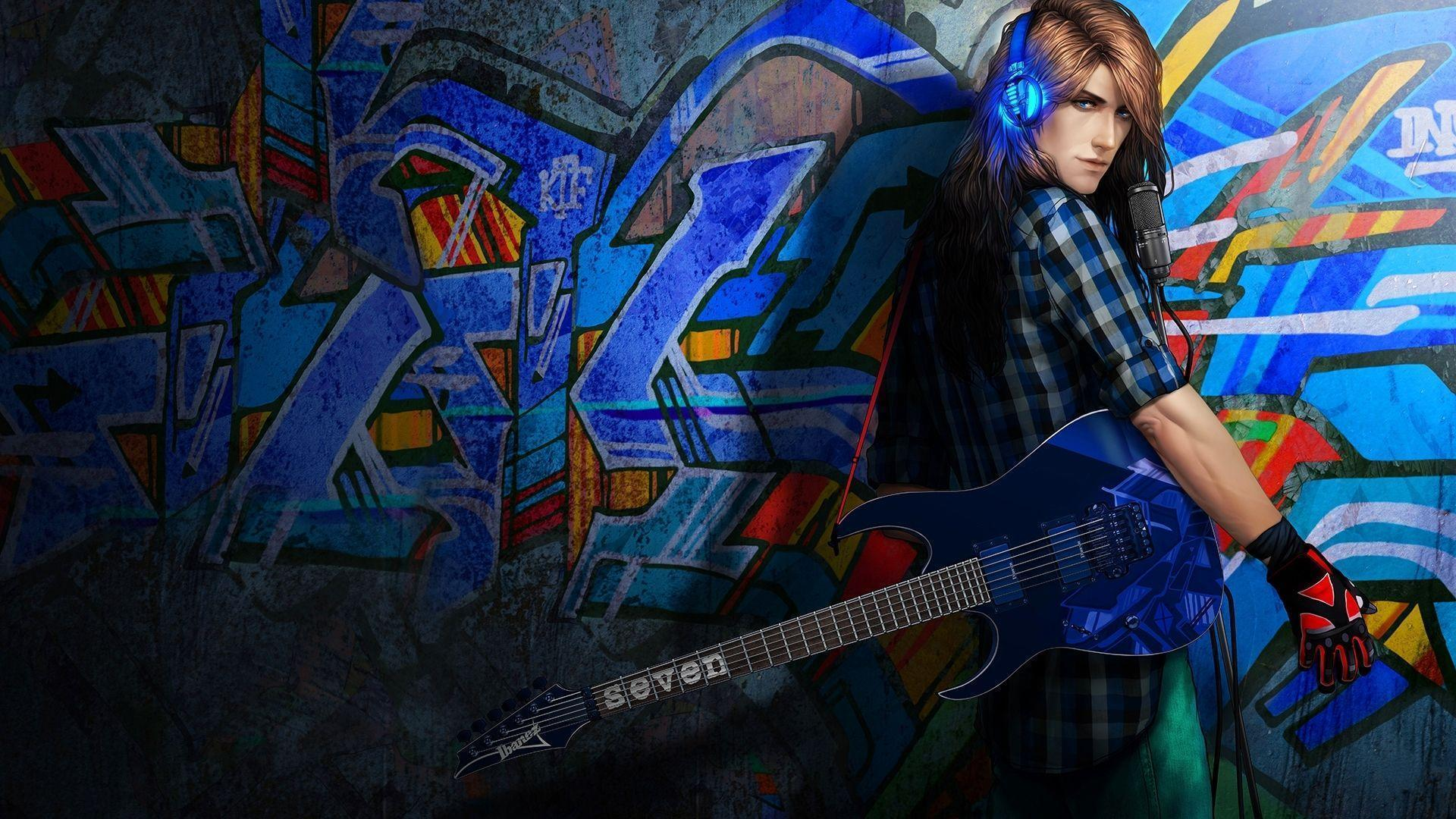 Rock and roll man Graffiti Wallpapers