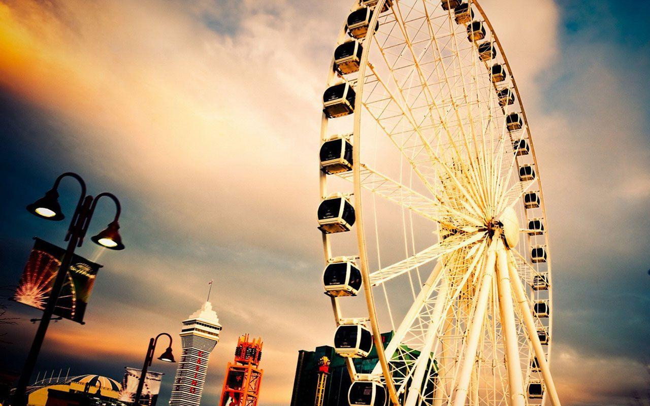 Bring happiness ferris wheel HD photography wallpapers 6 - Landscape