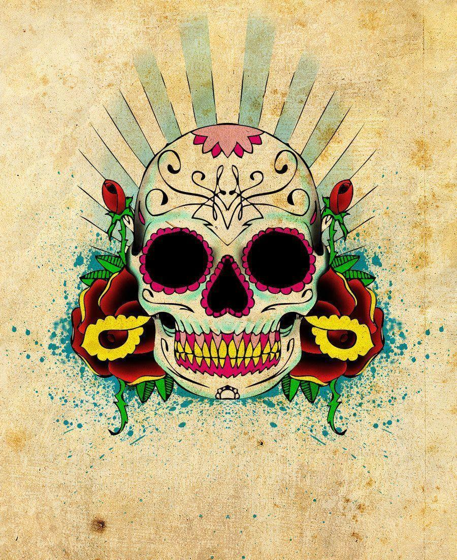 Skulls Tattoo Design Wallpaper: Sugar Skull Wallpapers
