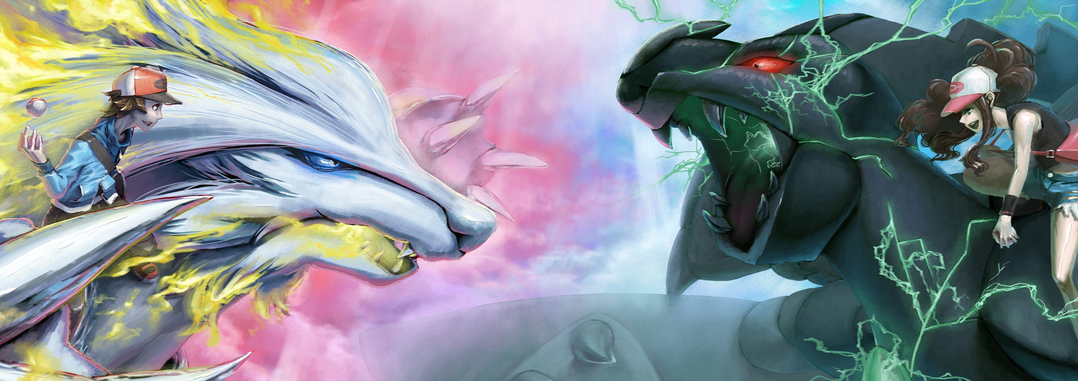 Reshiram Vs Zekrom HD Wallpaper | Background Image | 3508x1240 | ID ...