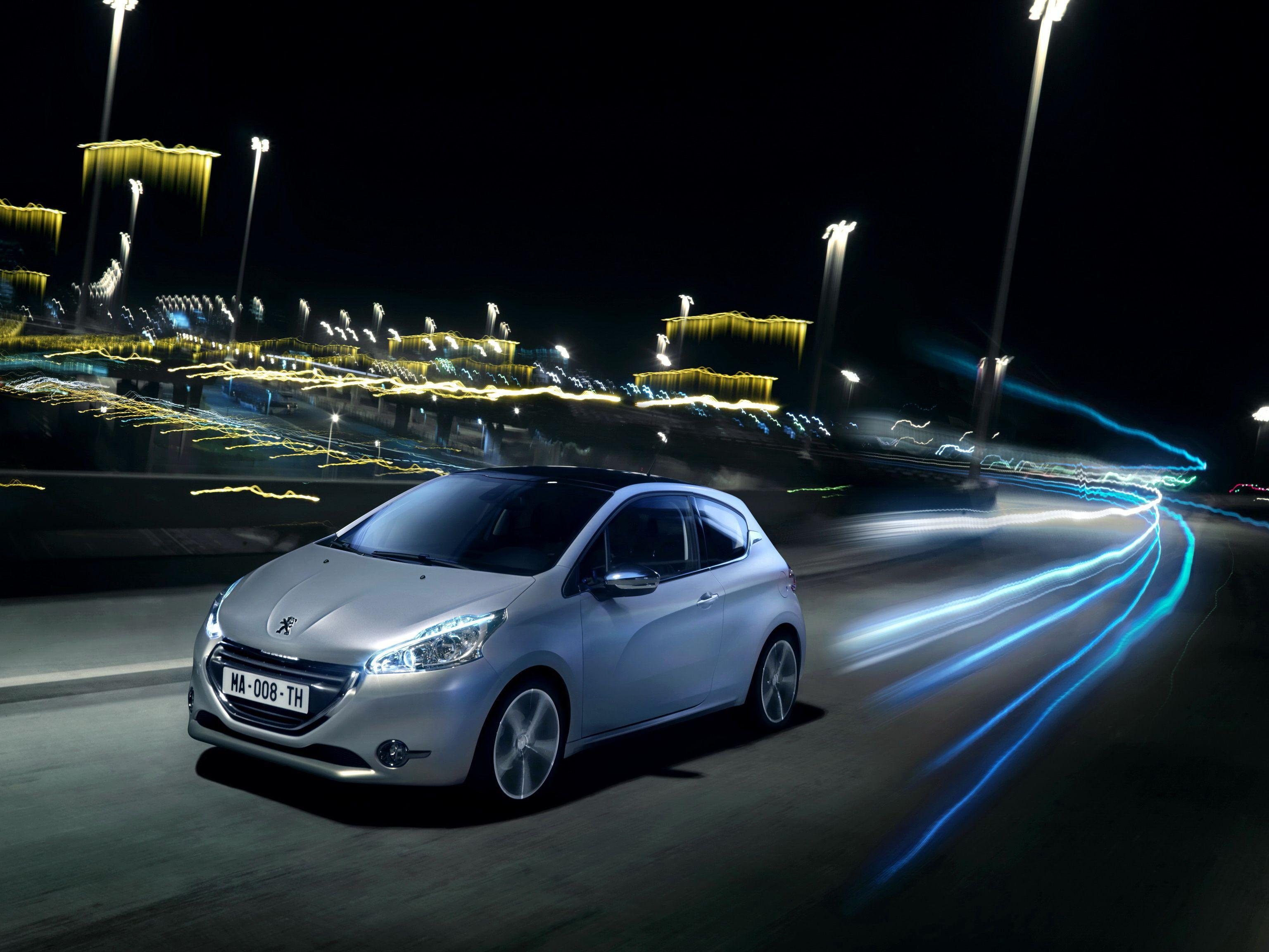 Wallpapers, Peugeot, Roads, 2011 208, Night, Cars, Download photo