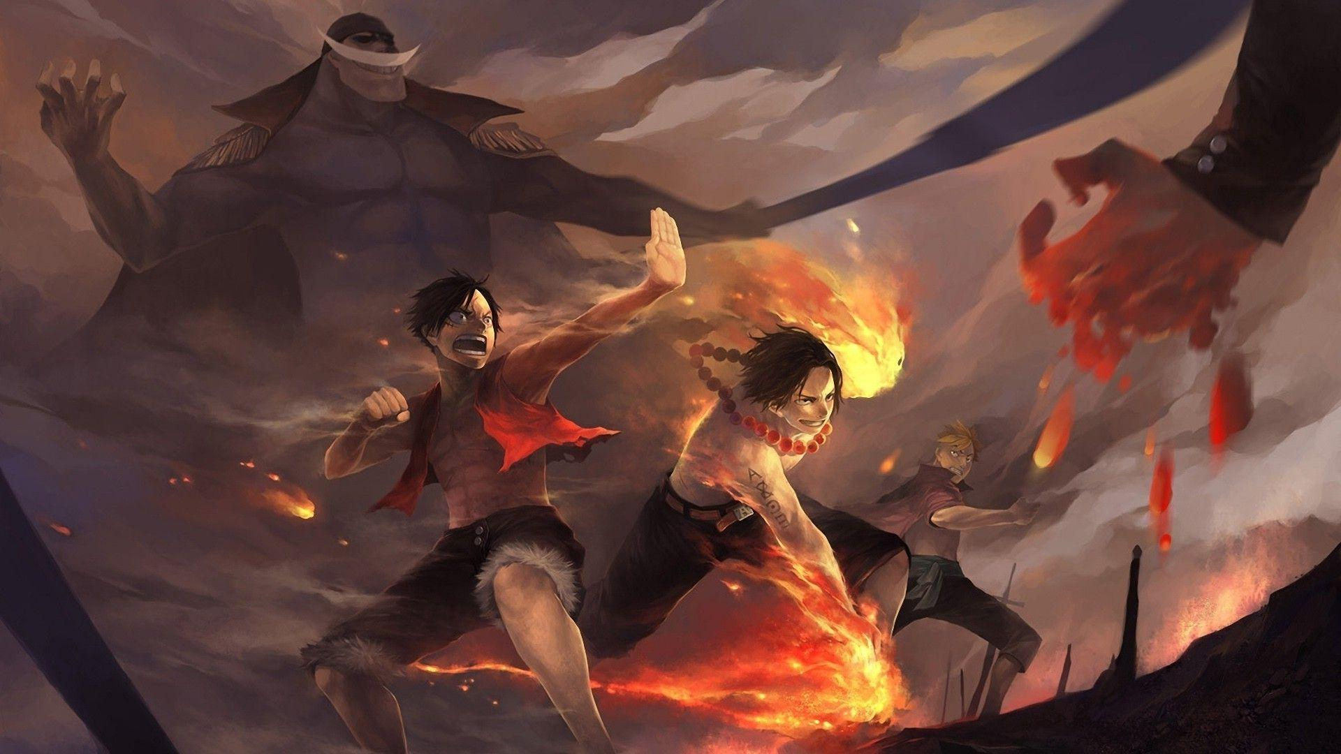 anime, One Piece, Monkey D. Luffy, Portgas D. Ace, Whitebeard