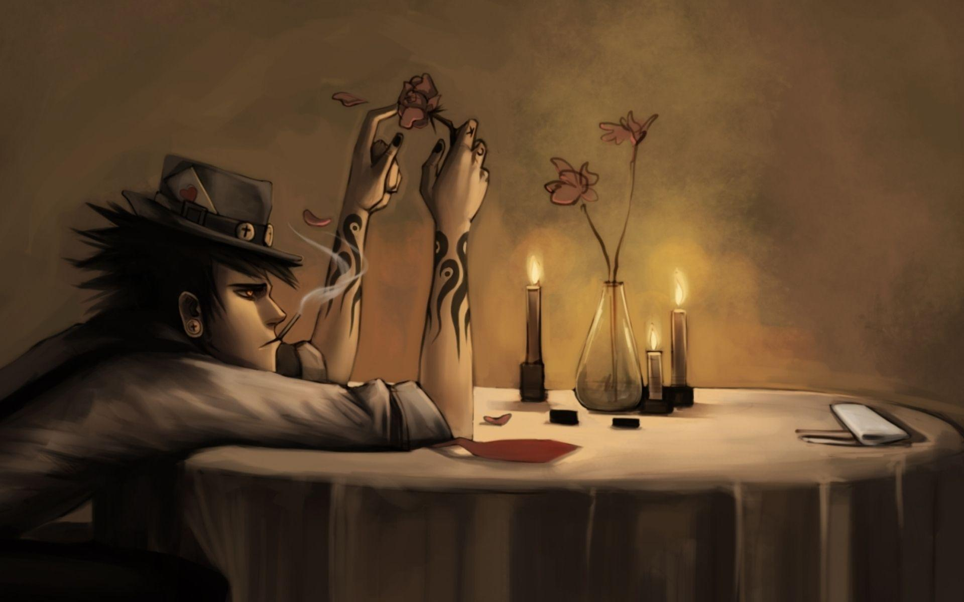Download Wallpaper 1920x1200 Art, Guy, Table, Depression 1920x1200 ...