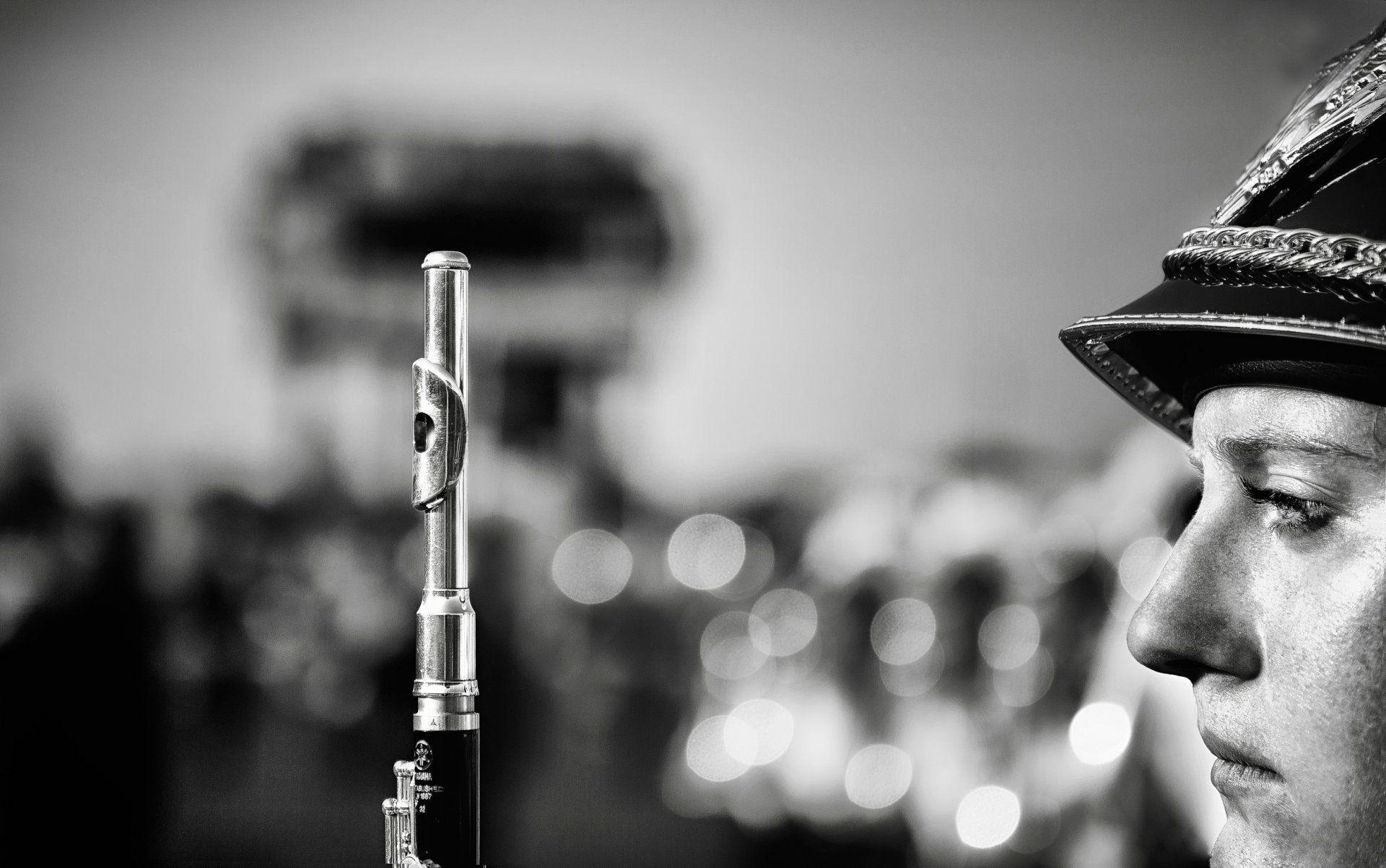 flute wind instruments military band flutist h b close up HD wallpaper