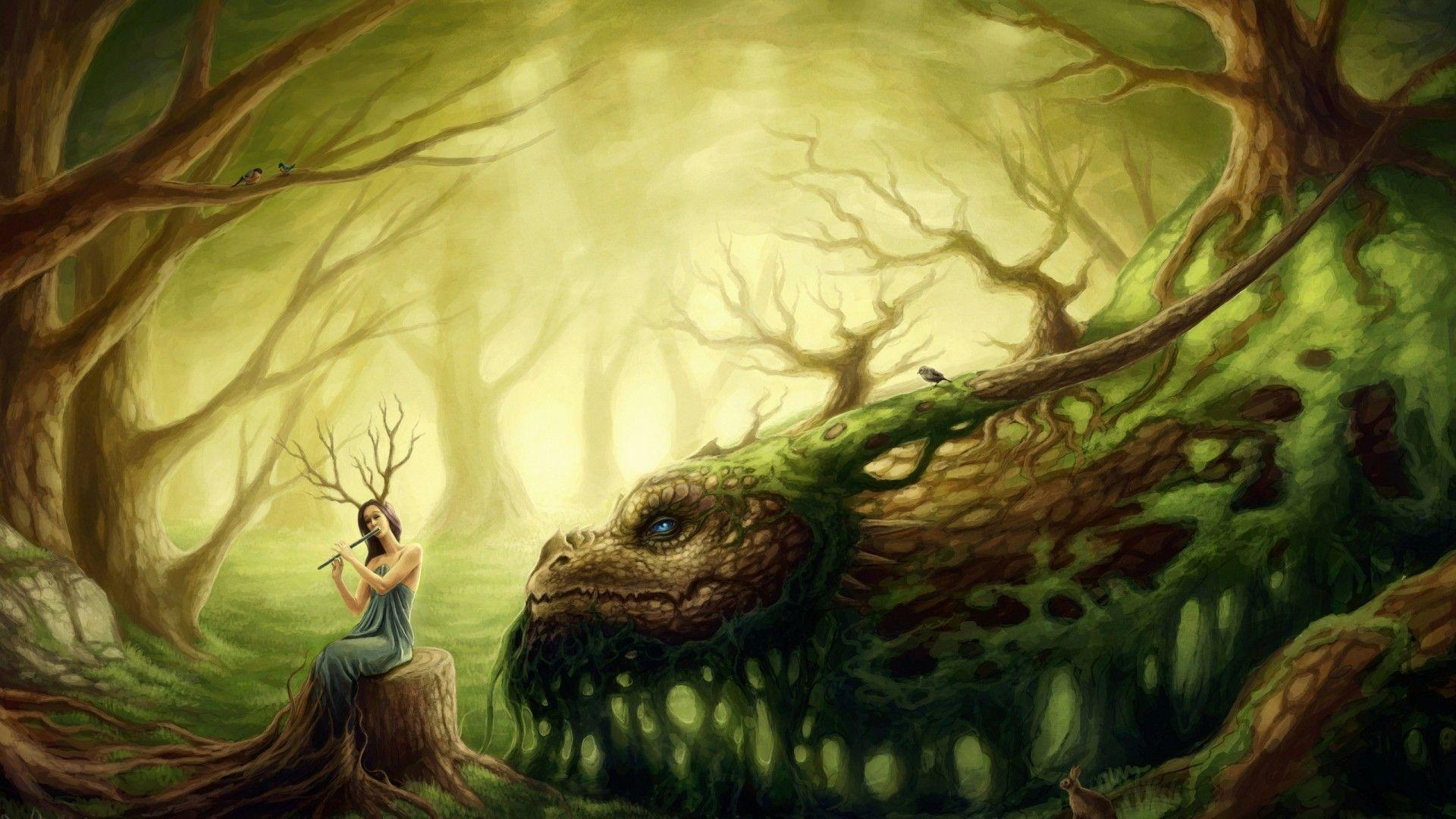 Forest Fairy playing the flute wallpapers and images - wallpapers ...