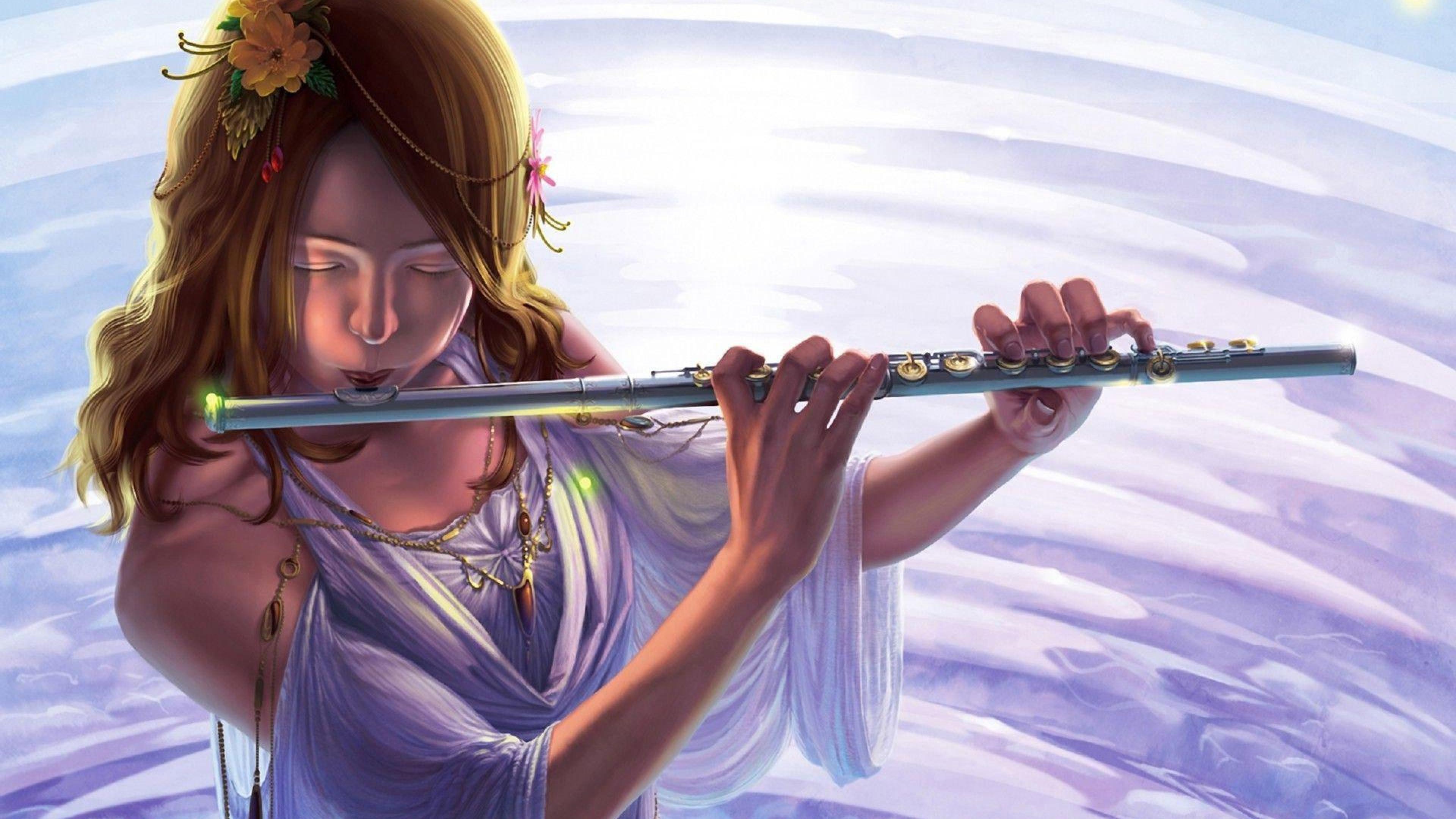 Digital Woman Playing the flute Art Flute HD Wallpapers, Desktop ...