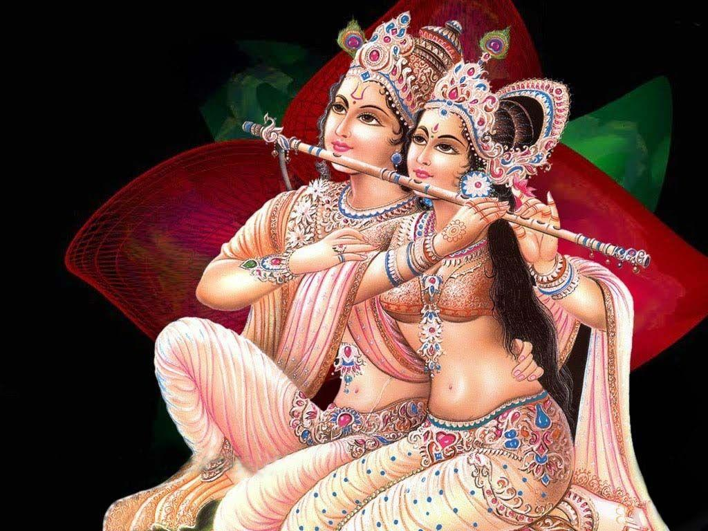 Krishna and Radha play flute images