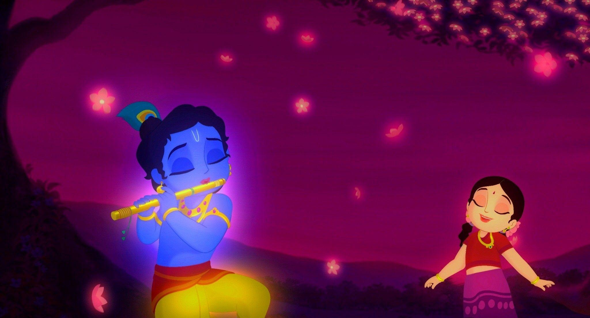God Krishna Playing Flute with Radha | HD Wallpapers