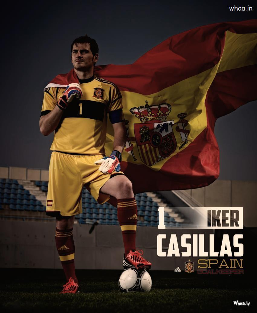 Iker Casillas In Orange T-Shirt HD Spain Goalkeeper Wallpaper
