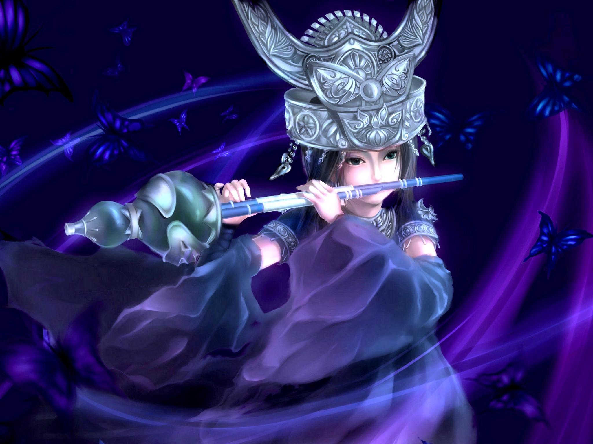 Download 2048x1536 Flute Girl wallpaper