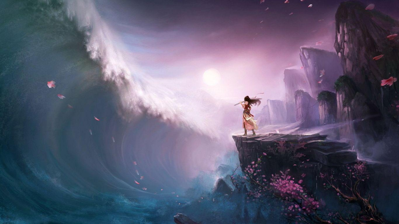 1366x768 Tsunami, Wave, Girl, Rock, Art, Flute, Tree Wallpapers ...
