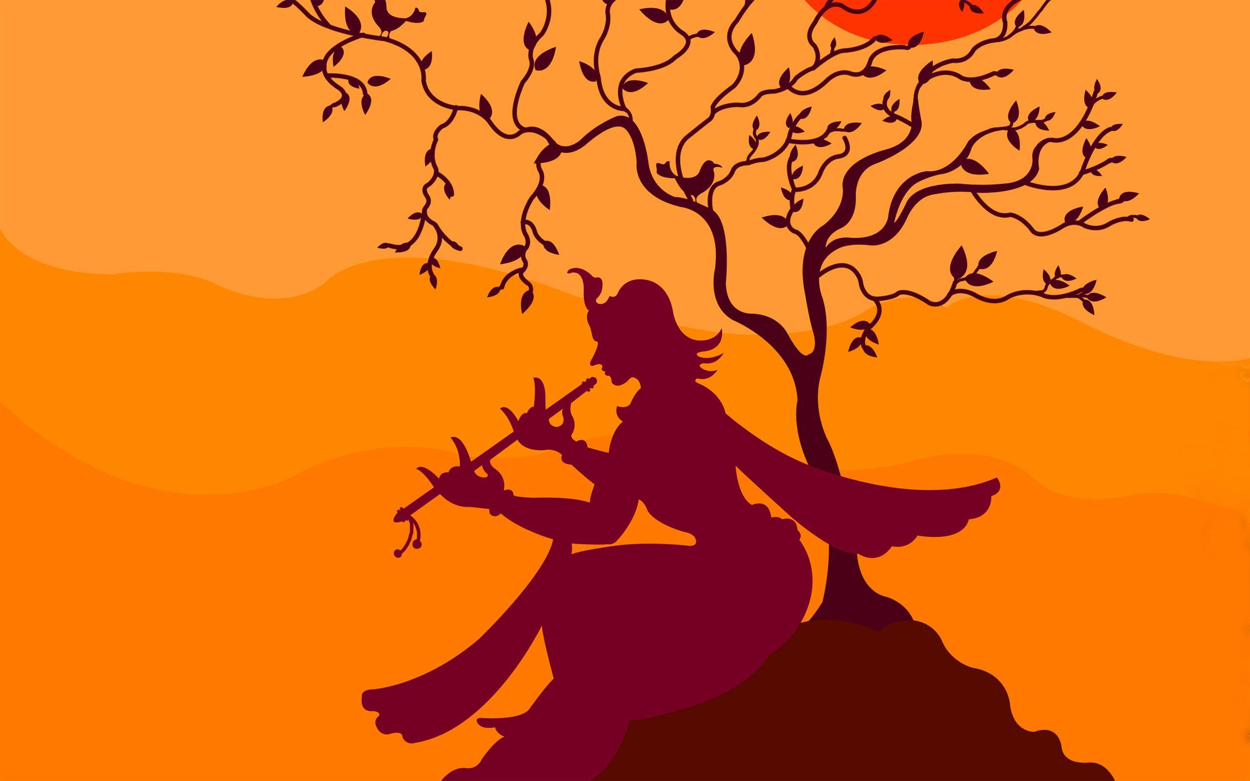 Krishna Playing Flute Under Tree Wallpapers - 2560x1600 - 836870