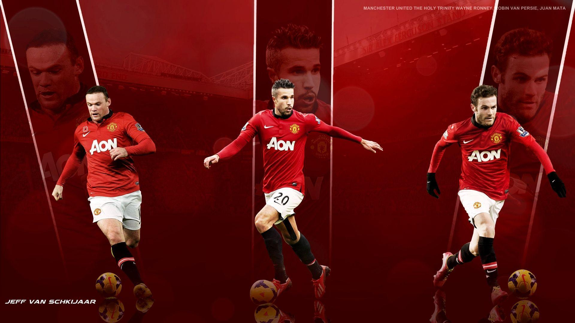 Manchester United Players Wayne Rooney Robin Van Persie And Juan ...